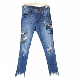 Zara Trafaluc Embroidered Distressed Skinny Jeans
